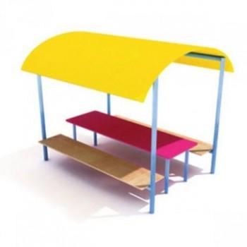 Стол со скамьями и навесом ЭБП 04