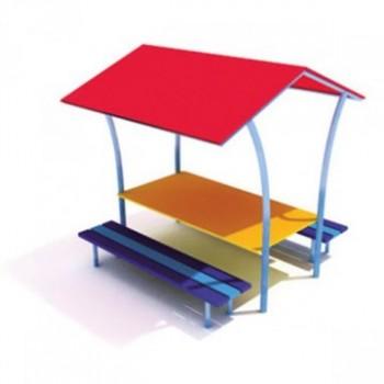Стол со скамьями и навесом ЭБП 03
